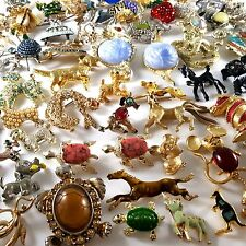 72pc Vintage QUALITY Animal Figural Brooch Pin Lot JJ ROMAN MAMSELLE GERRYS EE10