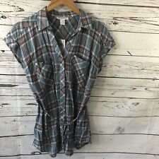 NWT Motherhood Maternity Button Down Blouse With Tie Size Small