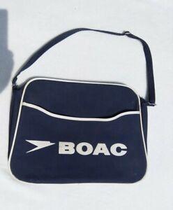 Blue BOAC Airline Flight Bag by Hellier (L&H) London Shoulder strap Vintage