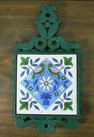 VTG Green Cast Iron & Tile Footed Trivet Blue & Green Folk Art Design Japan