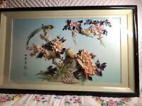VINTAGE MOTHER OF PEARL CARVED SHELL 3D ART SHADOW BOX ASIAN BIRD FLOWER 29X18