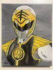 Power Rangers White Ranger Tommy hand painted fan art signed canvas tv show