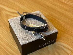 NWT Uno de 50 Silver-plated/Black Leather Bracelet w/ Skull Crystal Eyes/Redrum
