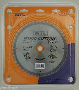 MTL brand 216mm x 48T x 30mm bore TCT Circular Chop Mitre Saw Blade for Wood