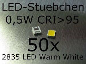 50x 2835 Warmweiss 0,5W 150 mA CRI>95 SMD LED Gurtabschnitt