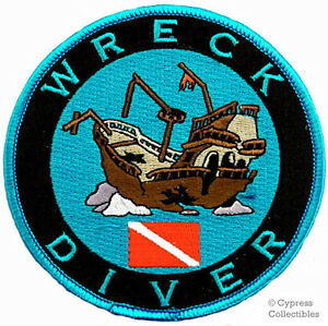 WRECK DIVER iron-on DIVE PATCH - SCUBA DIVING shipwreck EMBROIDERED EMBLEM