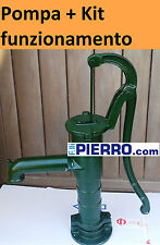 + Kit funziona Pompa a mano pozzo decorativa ghisa fontana leva colonna acqua