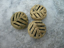 Perlen Messing Ghana Ashanti, 3 Stück 17 mm Biscuit Blattstruktur - lost wax