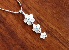 Hawaiian 925 Sterling Silver THREE PLUMERIA W/ BLUE CZ Pendant Necklace #SP40403
