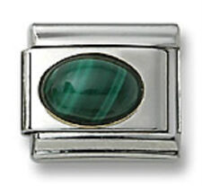 18k Italian Charm Green Malachite Stone Oval 9 mm Stainless Steel Link Bracelet