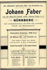 Johann Faber A.G. Nürnberg BLEISTIFT - FABRIK Historische Reklame von 1896