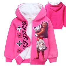 Moana Princess Winter Outerwear Gril Fleece Dual Layer Coat Hoodie Kids Jacket