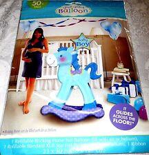 Amscan BABY BOY BLUE ROCKING HORSE - GIANT Refillable Foil Gliding Balloon