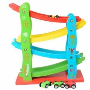Wooden Race Track Car Ramp Racer Click Clack Toy with 4 Mini Cars Xmas Gift NEW