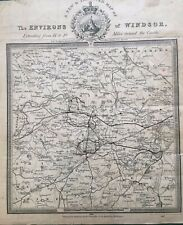 1833 Antique map: Environs of Windsor Extending 14 to 18 miles - George Cruchley