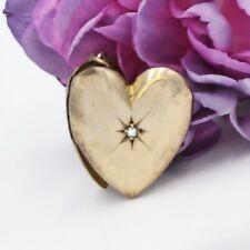 10k Yellow Gold Antique Diamond Heart Locket Pendant