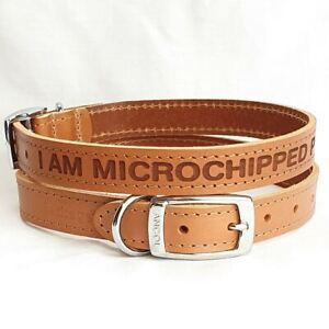 Personalised Custom Leather Dog Collar puppy Pet Id Tag Microchipped Please Scan