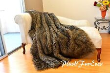 5' x 6' New Wolf Faux Fur Throws Lodge Home Accents Decors
