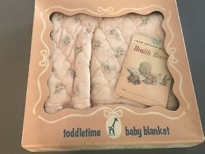NOS Vintage 1950s TODDLETIME JC PENNY pink quilted BABY CRIB BLANKET in BOX