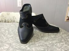 Blue Suede Mule Slide Western Heels Size 6