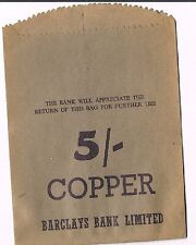 UNUSED BARCLAYS BANK LIMITED 5/- COPPER PAPER COIN BAG - BEIGE