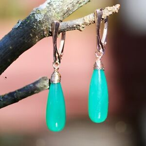 Natural Emerald Green Onyx Earrings Rose Gold Filled Vermeil , 7th Anniversary