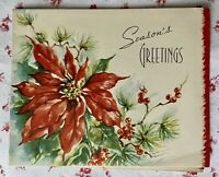 Vintage Mid Century Christmas Poinsettia Season's Greeting Card