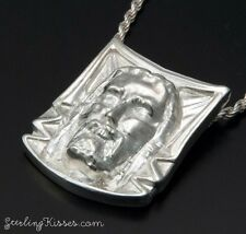 Veil Of Veronica Silver Pendant Featuring Face Of Christ From Shroud Of Turin.