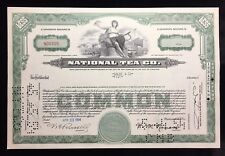 New listing National Tea Company Common Stock Certificate Stamped / Punched 1950'S Era
