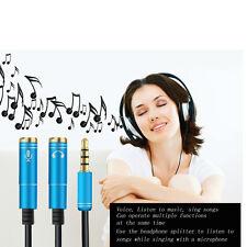 Audio Splitter Kabel Y Adapter Kopfhörer Headset 3.5mm Kupplung > 2 Stecker Blau