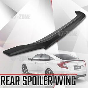 For 16 17 Honda Civic Matte Black ABS Rear Trunk Spoiler