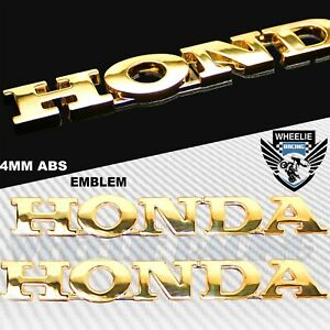 "X2 6"" CHROMED GOLD 4MM VERY 3D EMBLEM DECAL FAIRING/FENDER STICKER HONDA LOGO"