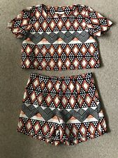 AZTEC SHORTS TOP SET S/M VERA & LUCY FESTIVAL TOWIE SUMMER BOHO KYLIE CELEB GLAM