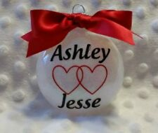 Couples heart shatterproof personalized Christmas Ornament