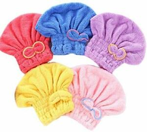 5 Pack Hair Drying Caps Microfiber Extreme Soft  Ultra Absorbent Fast Drying