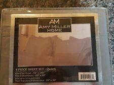 Amy Miller Home Luxury Queen 4 piece gray sheet set brand new in bag