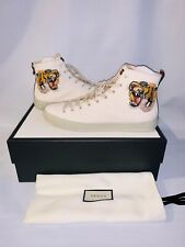 GUCCI SNEAKERS MENS MYSTIC WHITE LEATHER HIGH TOP TIGER SIZE 10G  US 11 AUTHENTI