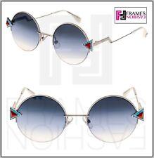 c9d9c639b299 FENDI RAINBOW FF0243S Silver Blue Aqua Gradient Round Sunglasses Metal 0243