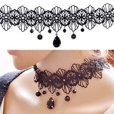 Vintage Spitze Edelstein Anhänger Choker Halskette Jewelrys RA
