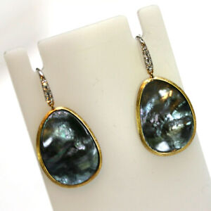 MARCO BICEGO NEW 18K Yellow Gold & Black Mother of Pearl Diamond Drop Earrings