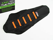 KTM 65 SX65 65SX 09-15 RIBBED GRIPPER SEAT COVER BLACK WITH ORANGE STRIPES RIBS