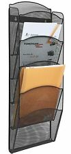 Greenco Mesh 5 Slot Wall Mounted Magazine Rack Holder, Black