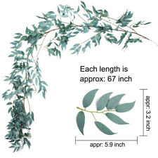 USA 2pcs Artifical Gray Willow Leaves Decor Garland Faux Silk Wedding Backdrop