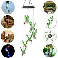 New LED Hummingbird Wind Chime Solar Powered Lights Color-Changing Garden Decor