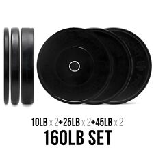 160lb Black Bumper Plates Set (10/25/45lb Pair) - Weight & Strength Training
