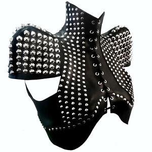 Real Pure Leather BDSM vest Leather Capelet Spike Rivets leather Crop top vest