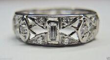 Antique Art Deco Vintage Diamond Wedding Band Platinum Rg Sz 7 UK-N1/2 EGL USA