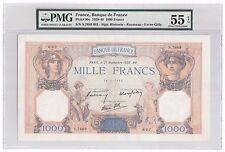 """France 1000 Franc 1939 P-90c PMG About UNC 55 EPQ """"No Pinholes"""" Vintage Large"""