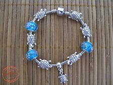 Bracciale DONNA con Charms color Acciaio TARTARUGA e Perline Foro Largo Moda