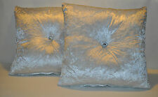 """2 Silver Velour & Filler Pads Cushions with Crystal Buttons 16"""" 18"""" 20"""""""